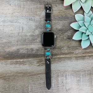 Fallen Feather Leather Apple Watch Band Turquoise